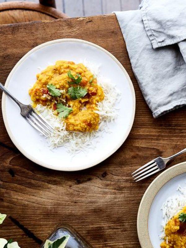 Bengali Orange Lentils with Cilantro and Tomatoes