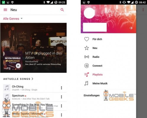 how Apple Music will look on your Android device
