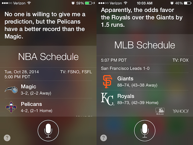 Siri can guess sports odds and thinks the Royals will win the World Series