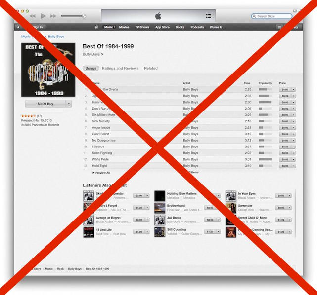 Apple removes white power bands from iTunes