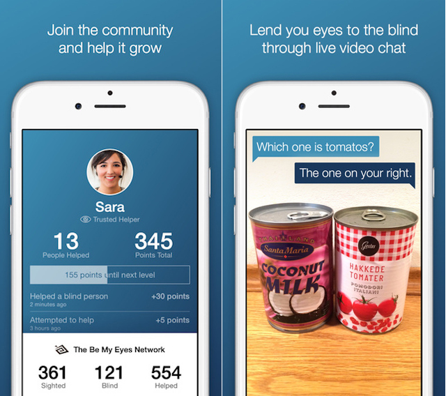 """Be My Eyes is a free app to help the blind """"see"""" through video chat"""
