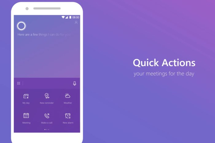 CORTANA FOR IOS, ANDROID NOW FEATURES QUICK ACCESS TO COMMON ACTIONS