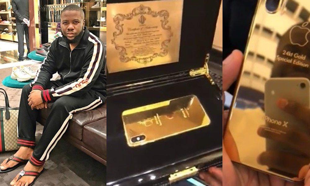 Social Media Star 'Hushpuppi' Flaunts Extravagant 24K Gold Plated iPhone X